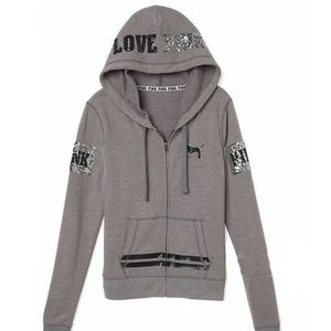 VS PINK Grey Bling Full Zip Hoodie Medium NWT